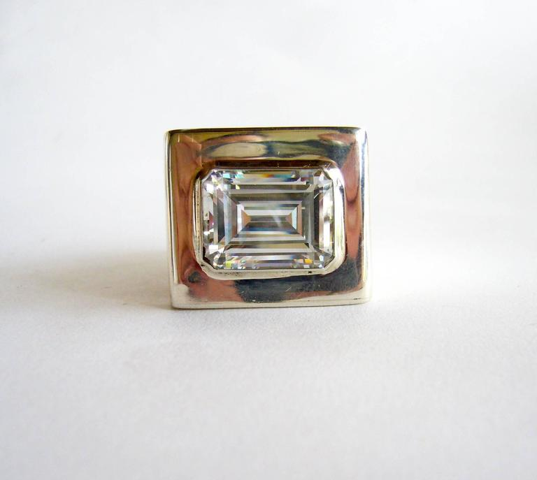 Kalibré Crystal Sterling Silver Cubed Ring In Excellent Condition For Sale In Los Angeles, CA