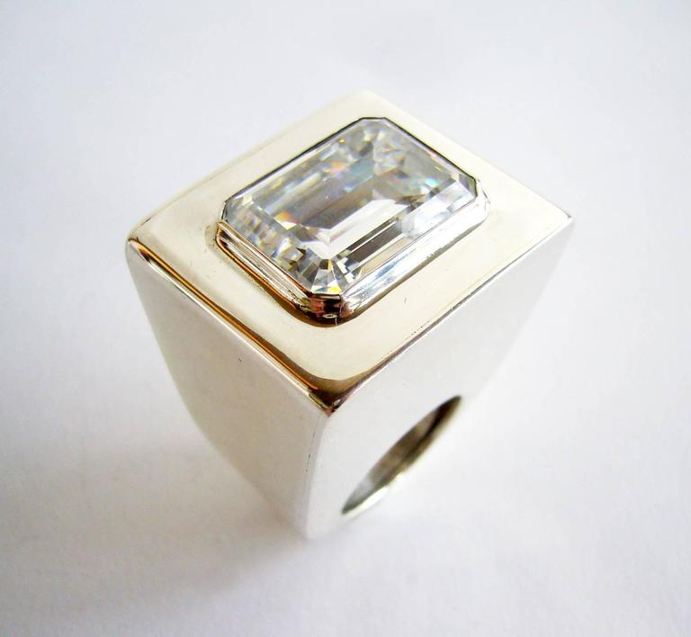 Large scale sterling silver with faceted crystal ring by Kalibré, circa 1985.  Ring is a finger size 7.5 - 8 and and stands 1