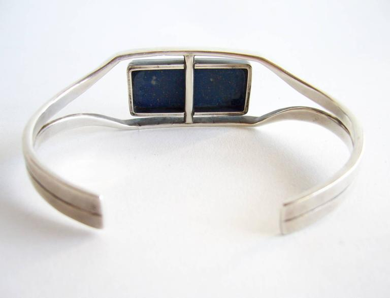 Jack Nutting Sterling Silver Lapis Lazuli Cuff Bracelet In Excellent Condition For Sale In Los Angeles, CA