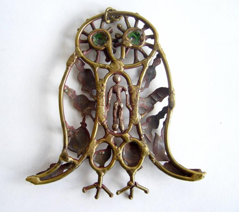 Modernist Pal Kepenyes Bronze Glass Milagro Owl Pendant Necklace For Sale