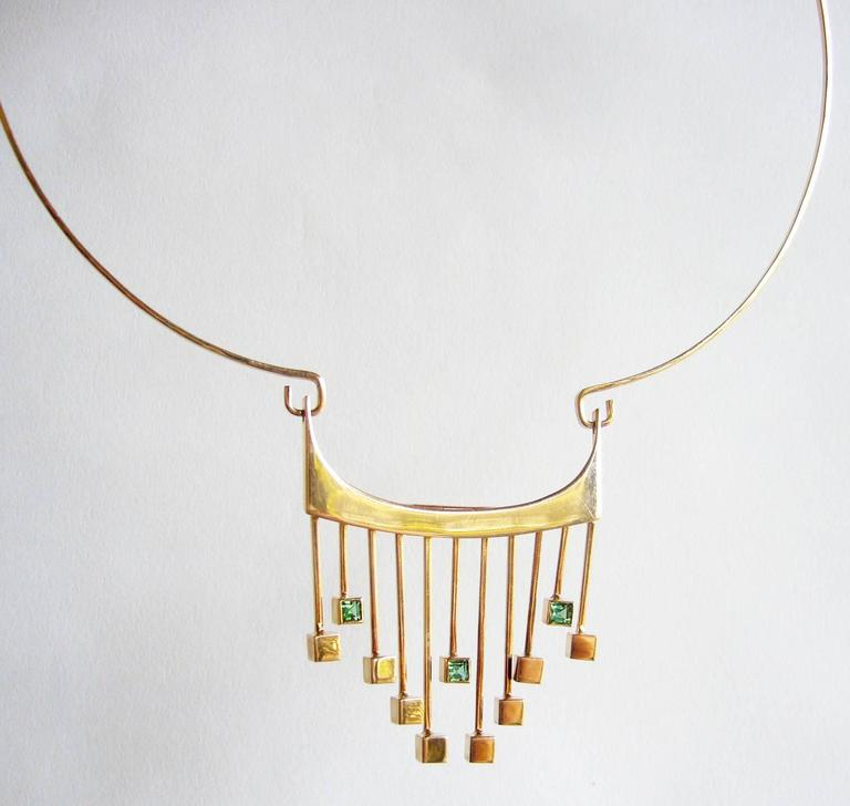 Modernist Paula HaIvaoja for Kaunis Koru Tourmaline Gold Necklace For Sale