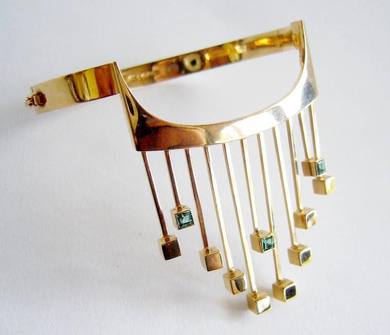 Modernist Paula Haivaoja for Kaunis Koru Tourmaline Gold Cuff Bracelet For Sale