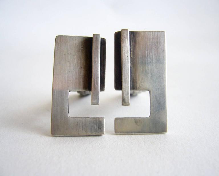 1950's sterling silver cufflinks created by Bill Tendler of New York, New York.  Cufflinks measure 1
