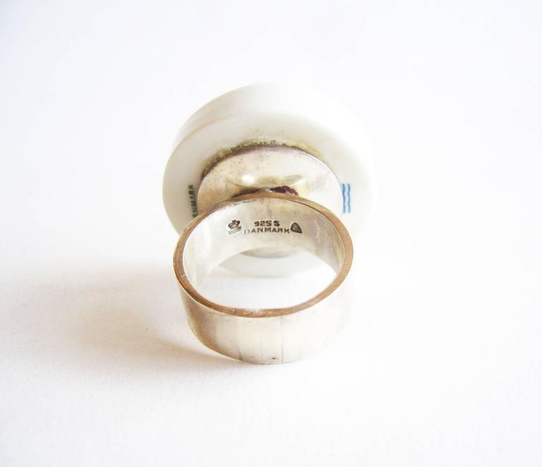 Modernist Anton Michelsen Porcelain Sterling Scandinavian Royal Bini Ring For Sale