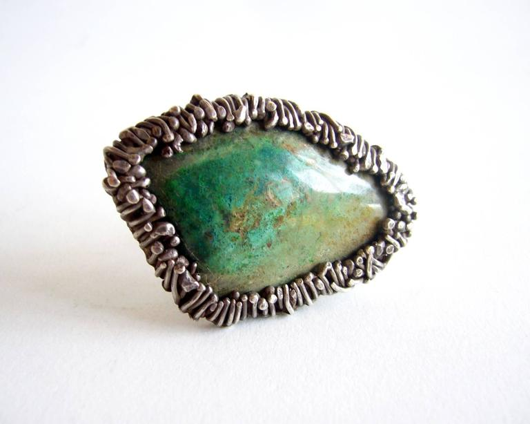 Pal Kepenyes Turquoise Silver Modernist Ring In Excellent Condition For Sale In Los Angeles, CA
