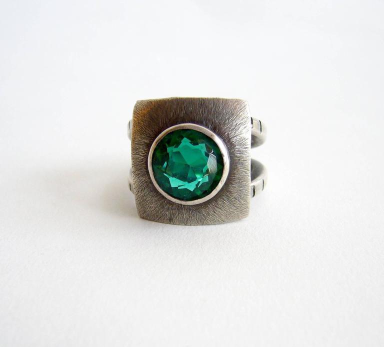 Modernist James Parker Faceted Gemstone Sterling Silver Gentleman's Ring For Sale