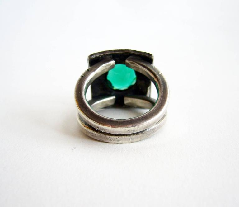 James Parker Faceted Gemstone Sterling Silver Gentleman's Ring In Excellent Condition For Sale In Los Angeles, CA
