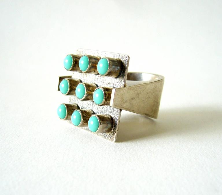 Oswaldo Guayasamin Turquoise Silver Ecuadorian Modernist Statement Ring In Excellent Condition For Sale In Los Angeles, CA