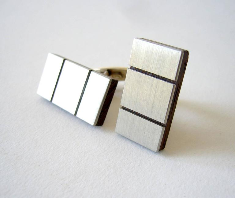 American Modernist Exotic Wood Brushed Sterling Silver Cufflinks In Good Condition For Sale In Los Angeles, CA