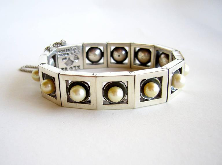 Sterling silver and pearl Mexican modernist bracelet created by Antonio Pineda of Taxco, Mexico.  Nicely weighted bracelet measures 8.25