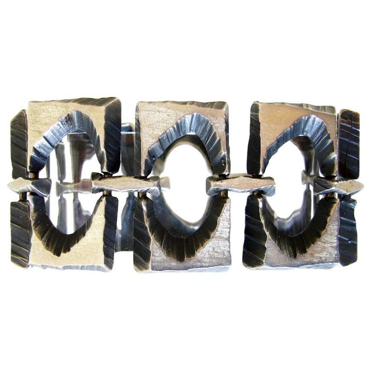 Modernist Sten and Laine Sterling Silver Brutalist Scandinavian Street Style Bracelet For Sale