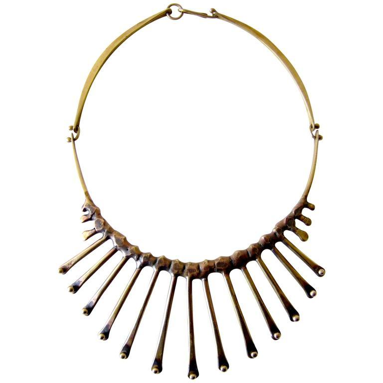 Artisan Jack Boyd Bronze Hand-Forged Spike Necklace For Sale