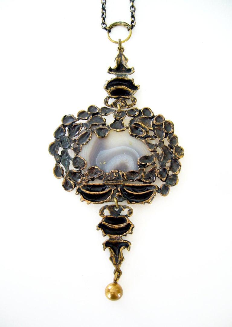 Women's Pentti Sarpaneva Finland Modernist Bronze Agate Necklace For Sale