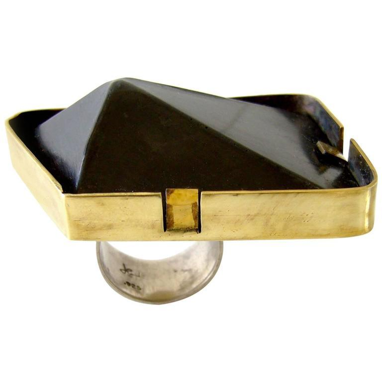 Heidi Abrahamson Sterling Silver Brass Pyramid Ring In Excellent Condition For Sale In Los Angeles, CA