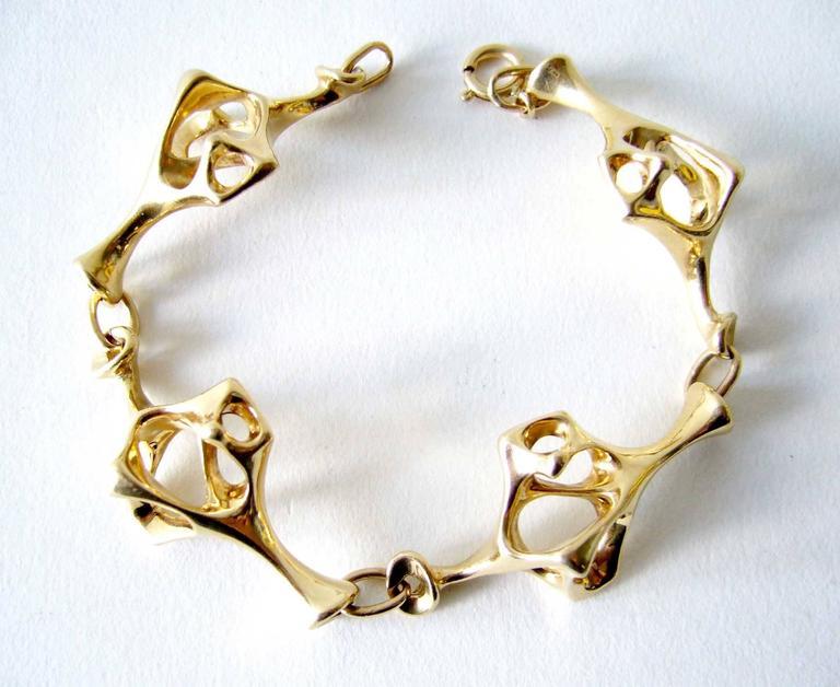 Modernist Everett Macdonald Gold Abstract Surrealist Link Bracelet For Sale