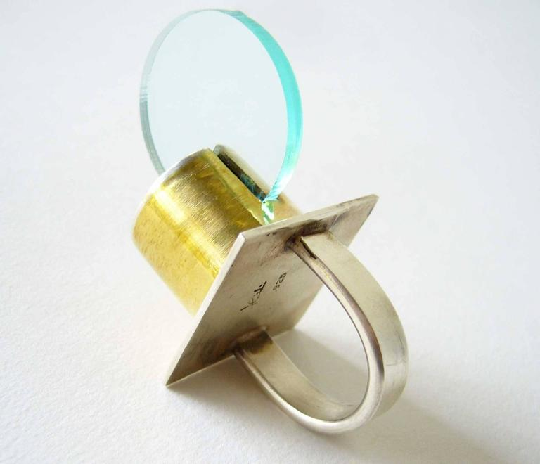 Modernist Heidi Abrahamson Sterling Silver Brass Acrylic Disc Ring For Sale
