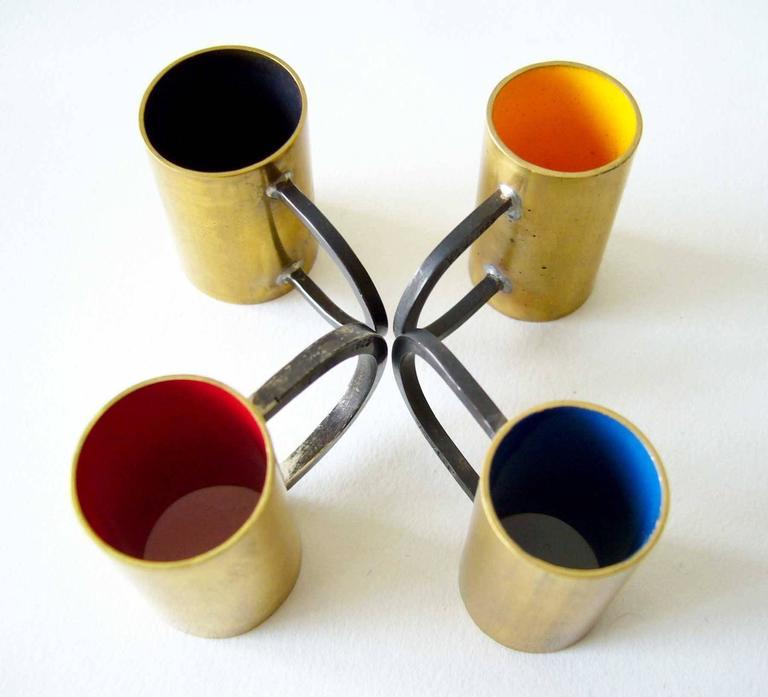 Modernist Heidi Abrahamson Enameled Brass Sterling Silver Tube Ring For Sale