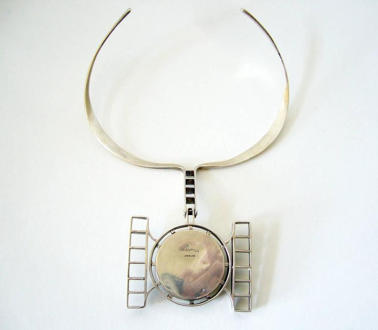 M. Sutton Sterling Silver Wood American Modernist Mask Necklace In Good Condition For Sale In Los Angeles, CA
