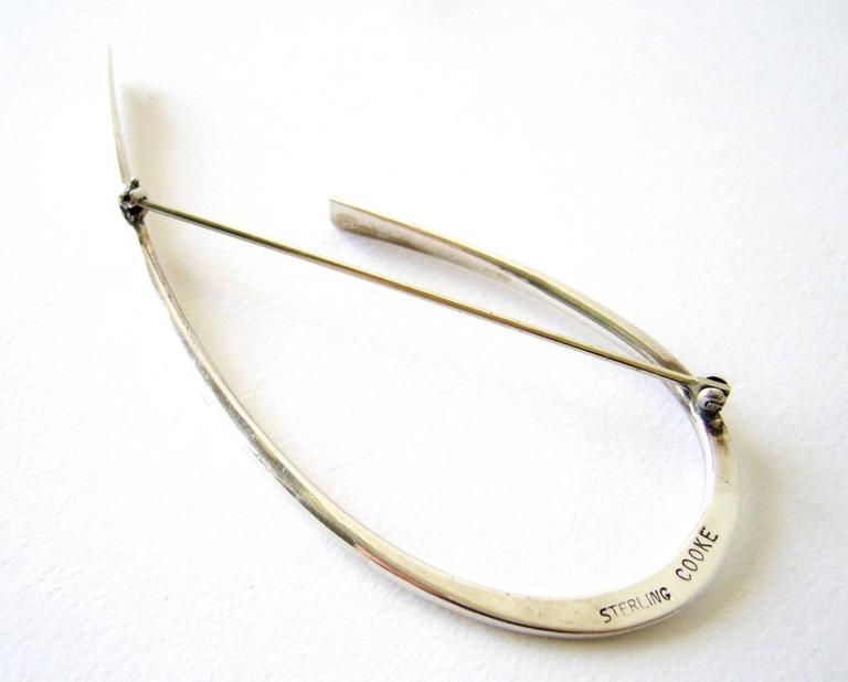 Modernist Betty Cooke Sterling Silver Minimalist Brooch For Sale