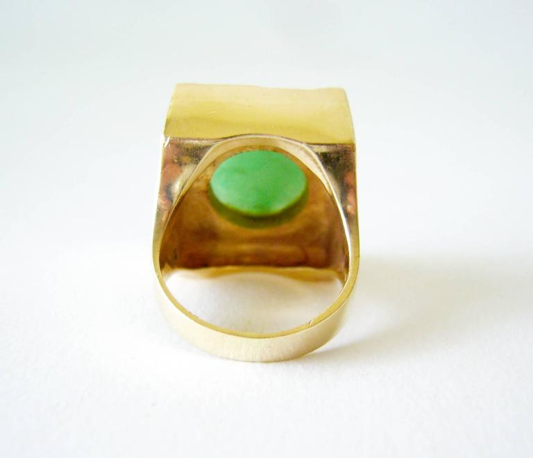 Women's or Men's 1960's Jade Gold Textured Modernist Ring For Sale