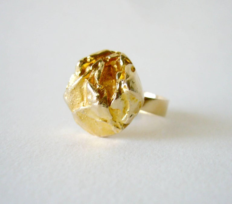 "14k gold ring entitled ""Yellow Rose"" created by Finnish master jeweler and sculptor, Bjorn Weckstrom.  Ring is perfect for a modern style engagement or wedding ring.  It is a finger size 5.75 and can be resized if need be. Signed with"