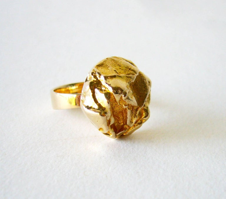 Modernist Bjorn Weckstrom for Lapponia Gold Yellow Rose Engagement Ring For Sale
