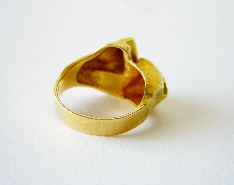 Bjorn Weckstrom Polyphemus 18K Gold Copper Ore Ring In Good Condition For Sale In Los Angeles, CA