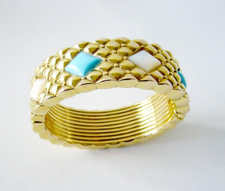 Italian Turquoise Mother-of-Pearl Gold Hinged Bracelet 2