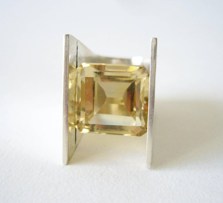 Artisan Heidi Abrahamson Yellow Quartz Sterling Silver Minimalist Ring For Sale