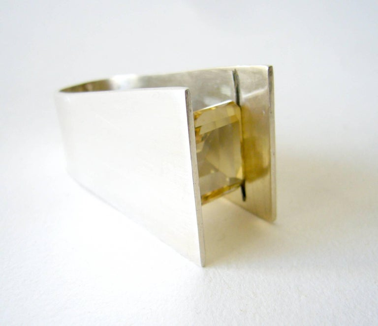 Women's Heidi Abrahamson Yellow Quartz Sterling Silver Minimalist Ring For Sale