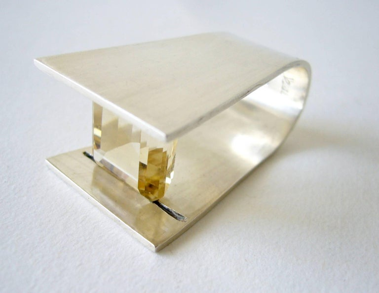 Heidi Abrahamson Yellow Quartz Sterling Silver Minimalist Ring In Excellent Condition For Sale In Los Angeles, CA