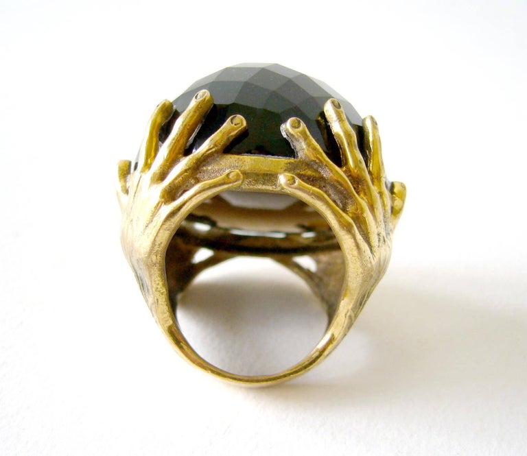Round Cut Smokey Quartz Bronze Surrealist Hands Cocktail Ring