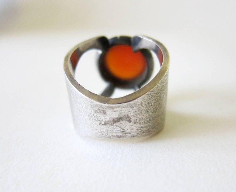Women's or Men's James Parker Sterling Silver Carnelian San Diego Modernist Ring For Sale