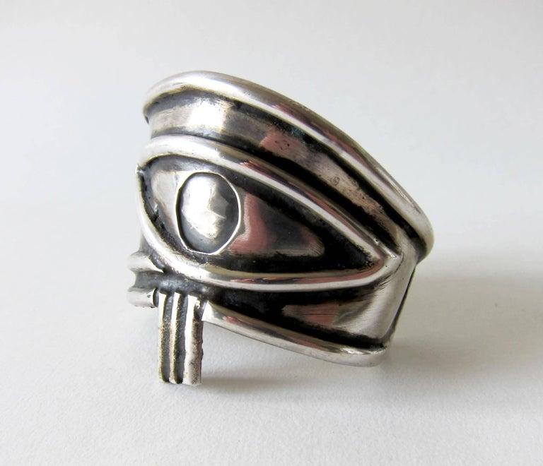 Artisan Unisex Handmade Eye of Ra Sterling Siver Cuff Bracelet For Sale