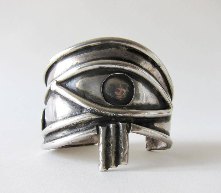 Unisex Handmade Eye of Ra Sterling Siver Cuff Bracelet In Good Condition For Sale In Los Angeles, CA