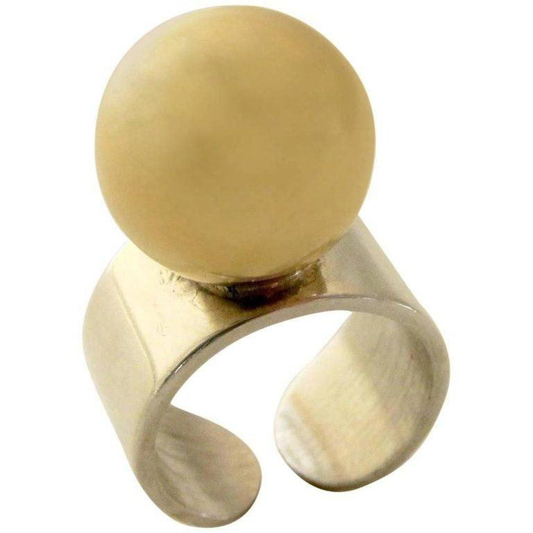 Modernist Pierre Cardin Gold Sterling Disco Mod Ring For Sale