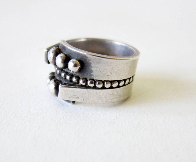 Women's or Men's James Parker Sterling Silver San Diego Modernist Ring For Sale