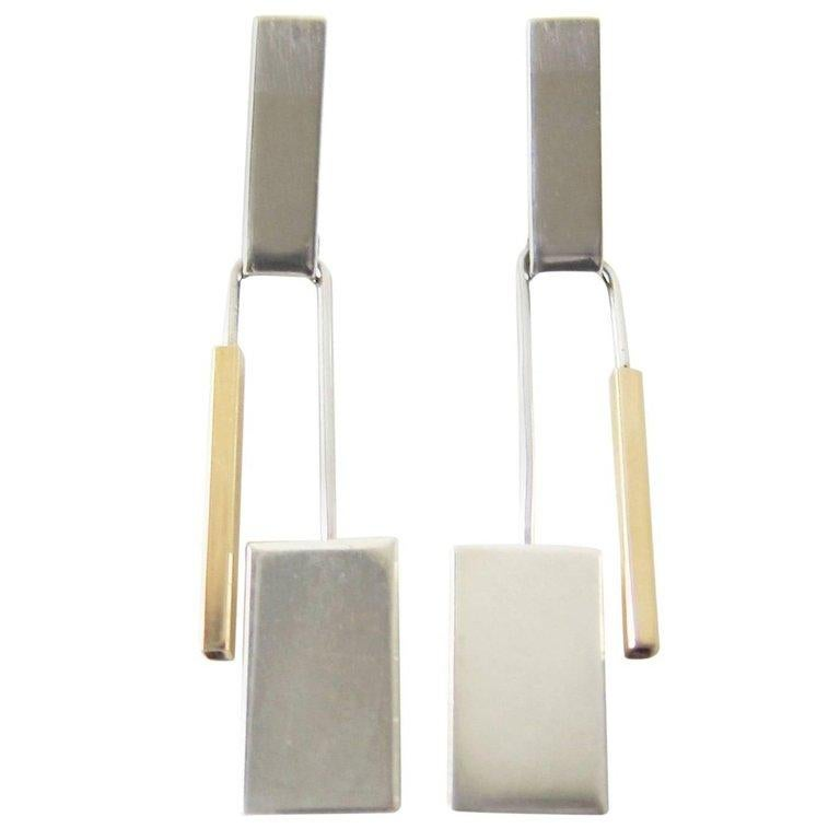 Betty Cooke Gold Sterling Silver Kinetic Modernist Earrings In Good Condition For Sale In Los Angeles, CA