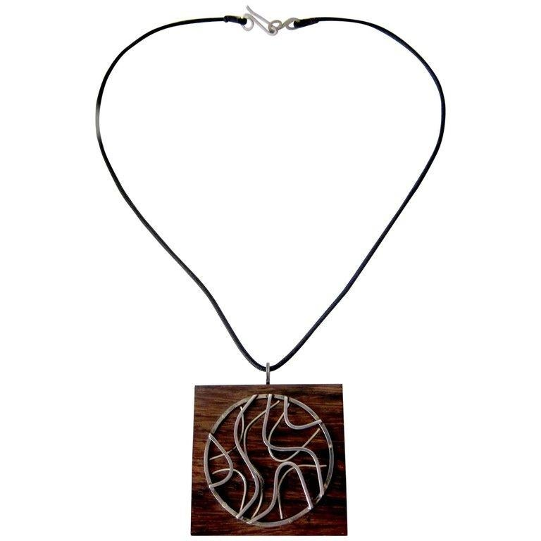 Women's or Men's Milton Cavagnaro Sterling Silver Exotic Wood California Modernist Necklace For Sale