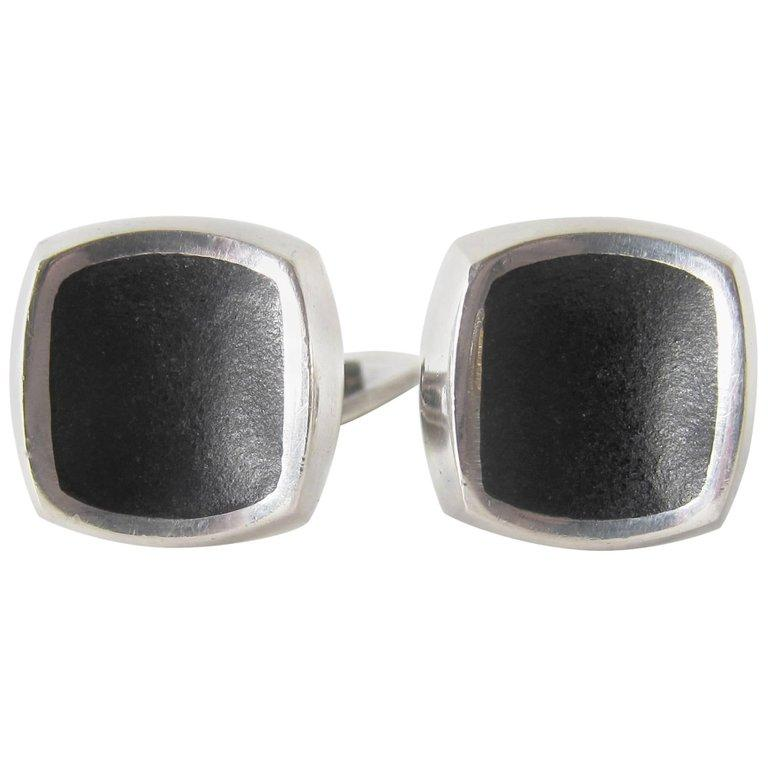 Thor Selzer Sterling Silver Danish Modernist Cufflinks In Good Condition For Sale In Los Angeles, CA