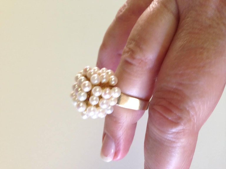 Geometric Scandinavian Modernist Pearl Gold Ring For Sale 2