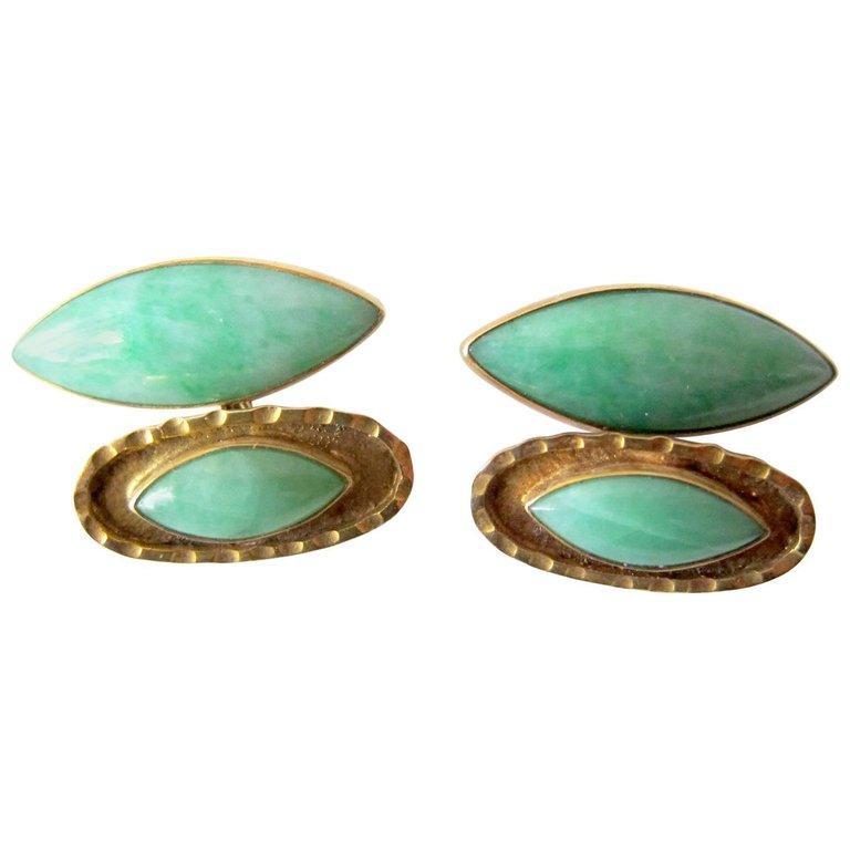 Modernist Mid-Century Modern Gold Jade Cufflinks For Sale