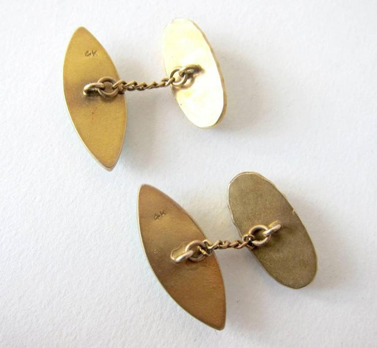 Mid-Century Modern Gold Jade Cufflinks In Good Condition For Sale In Los Angeles, CA