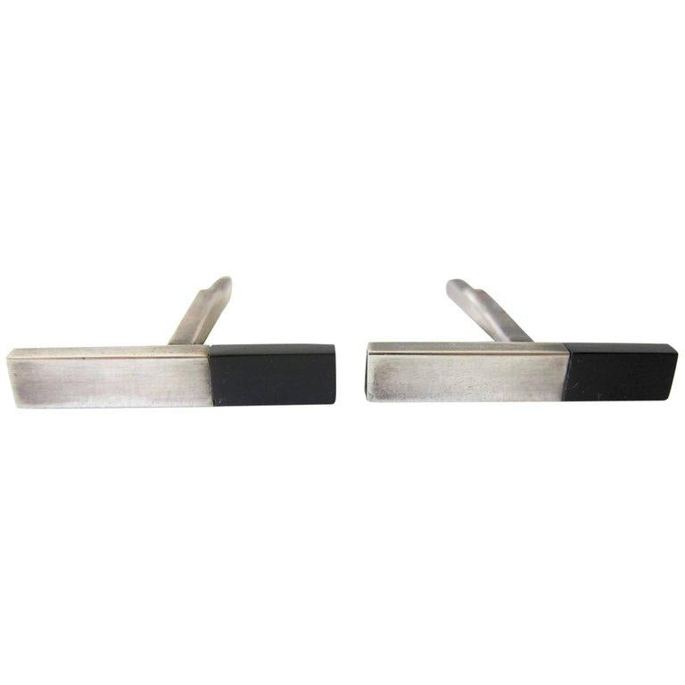 Betty Cooke Sterling Silver Exotic Wood Modernist Cufflinks In Excellent Condition For Sale In Los Angeles, CA