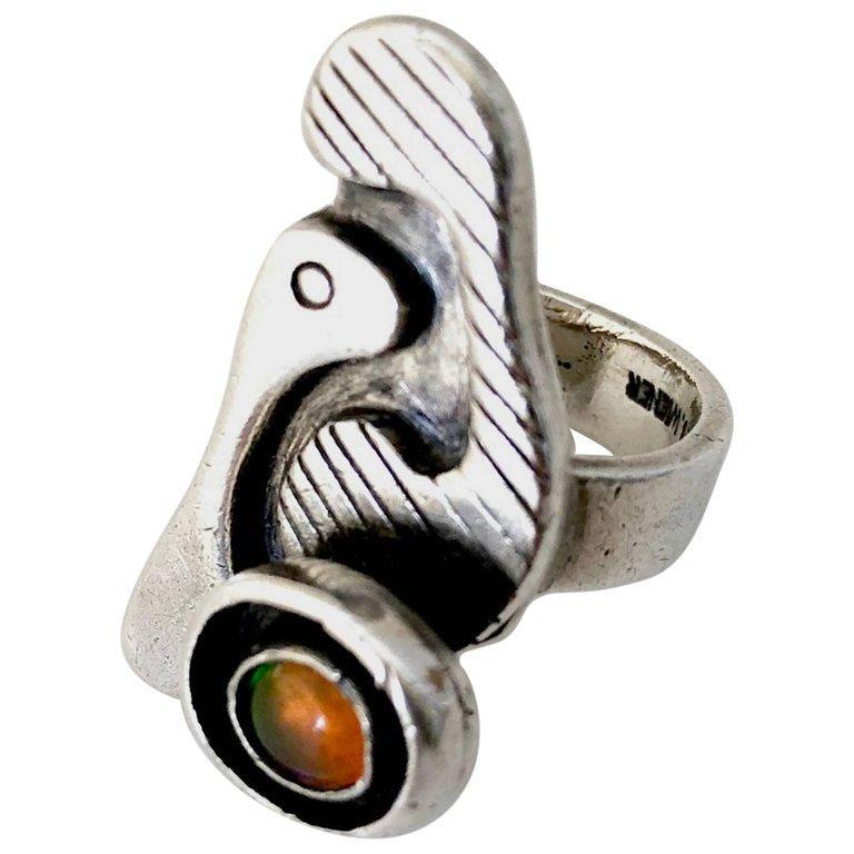 Women's Ed Wiener Sterling Silver Opal Bi Level American Modernist Ring For Sale