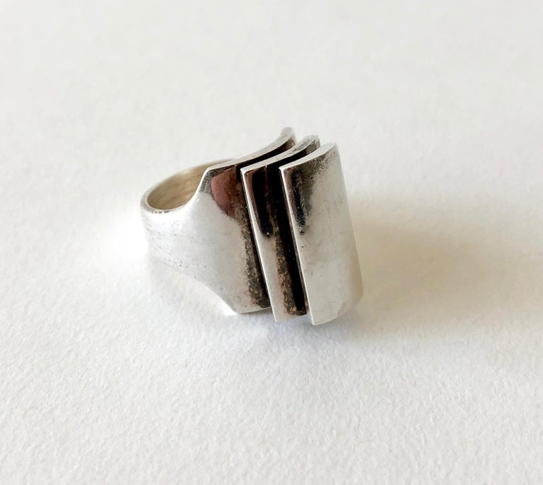 Women's Danish Modernist Triple Tiered Sterling Silver Ring For Sale
