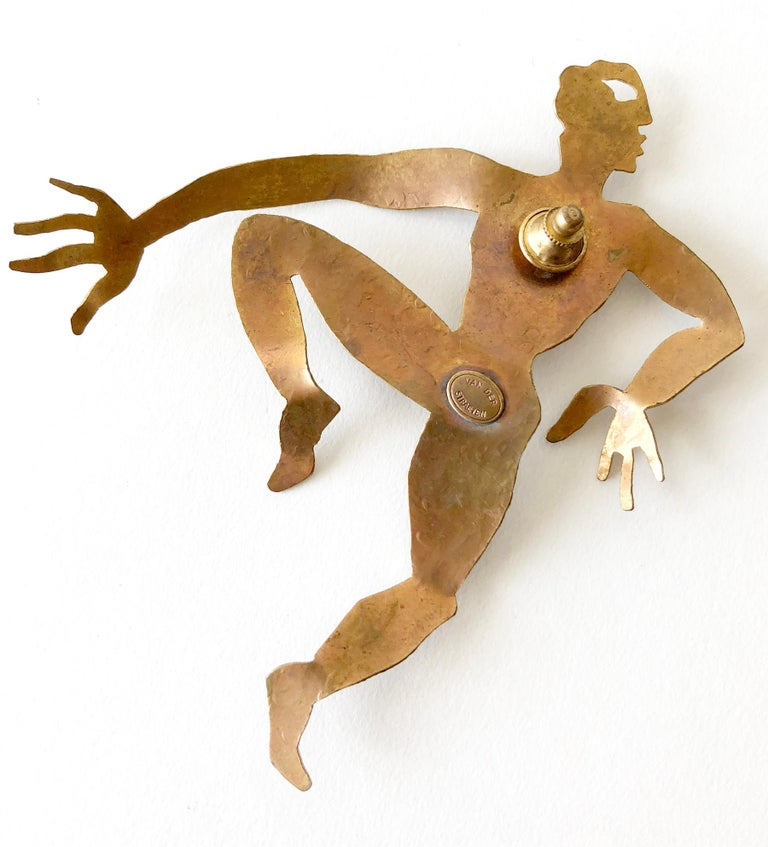 1980's gilded brass dancer brooch by Hervé Van der Straeten.  Brooch measures 5