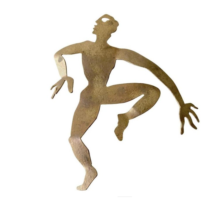 Herve Van Der Straeten Gilded Brass Dancer Brooch In Good Condition For Sale In Los Angeles, CA