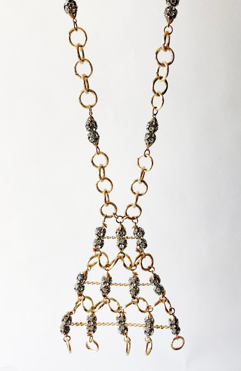 Modernist 1960s Gold Toned Aluminum Rhinestone Statement Necklace For Sale