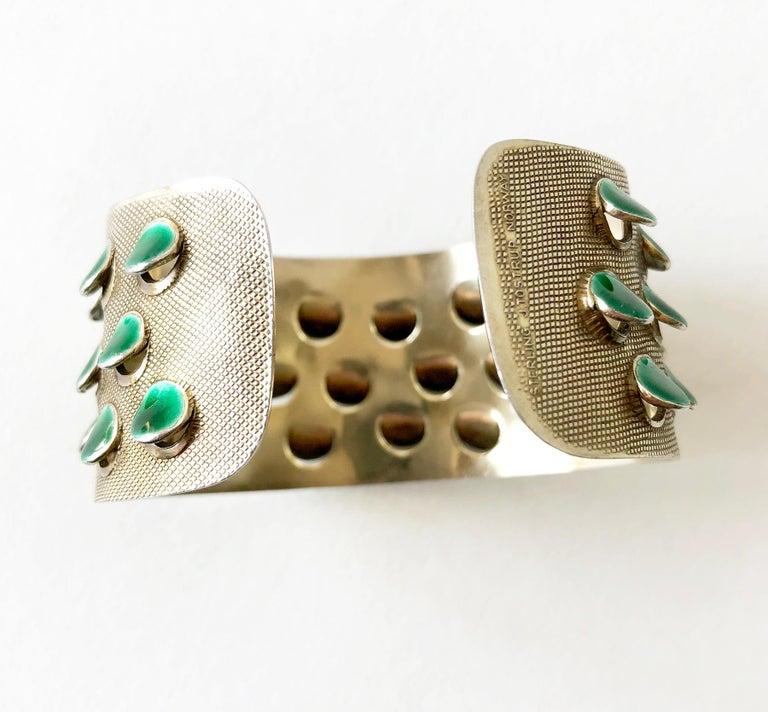 Modernist Grete Prytz Kittelsen for Tostrup Plated Sterling Enamel Norwegian Cuff Bracelet For Sale